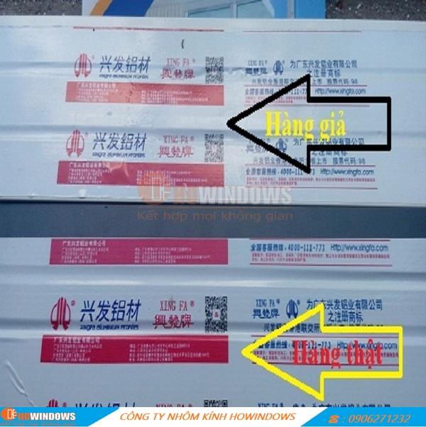 Phân biệt tem dán trên thanhNhôm Xingfa .